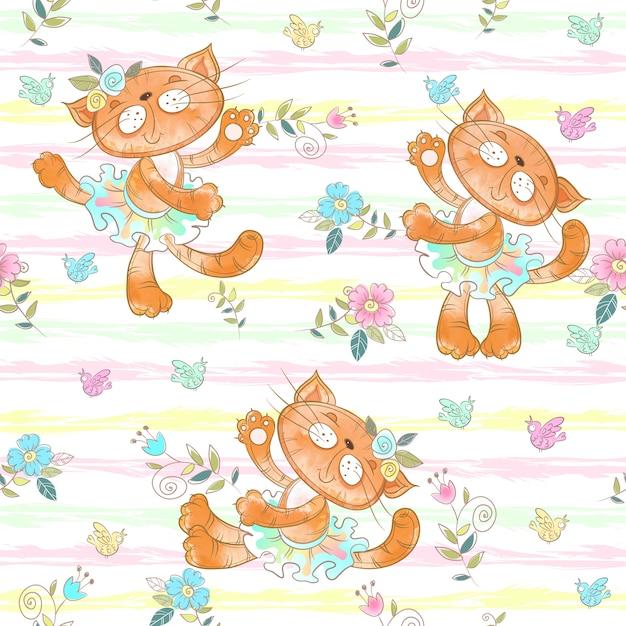 Naadloos patroon met dansende kattenballerina's. Premium Vector
