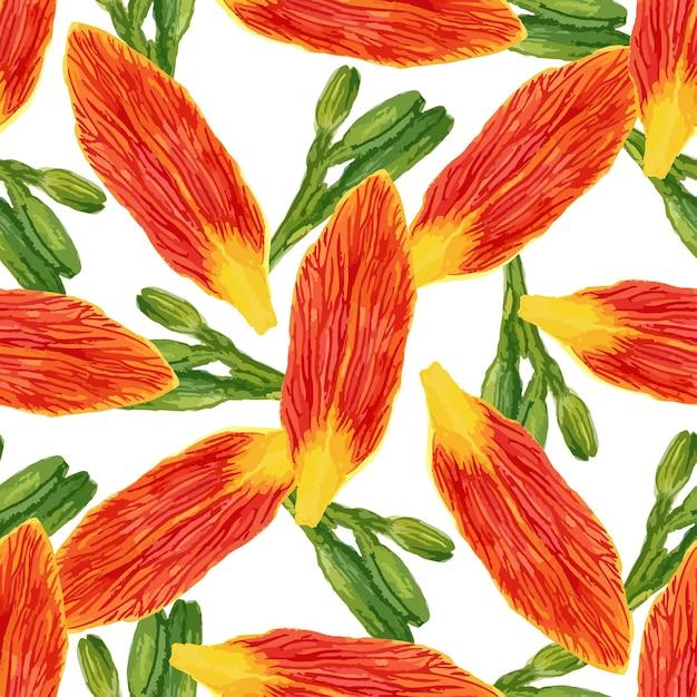 Naadloos patroon met de bloemen en de knoppen van waterverfbloemblaadjes. leliesachtergrond voor behang, textiel, stof of verpakkingsontwerp. Premium Vector