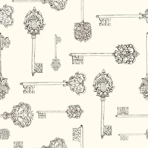 Naadloos patroon met de hand getekende antieke sleutels. vintage sleutels met florale elementen, vlinders en vogels. hand getrokken vectorillustratie. Premium Vector