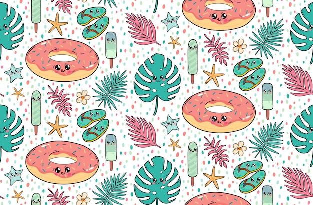 Naadloos patroon met de leuke doughnut, de latten, het roomijs, en de tropische bladeren van de poolvlotter in kawaiistijl van japan. gelukkige beeldverhaalkarakters met grappige gezichtenillustratie. Premium Vector