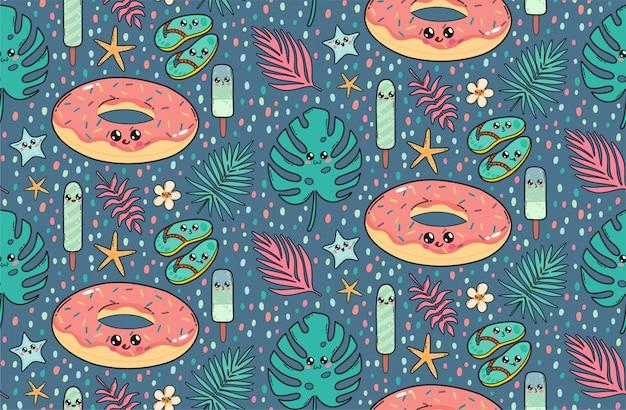 Naadloos patroon met de leuke doughnut, de latten, het roomijs, en de tropische bladeren van de poolvlotter in kawaiistijl van japan Premium Vector