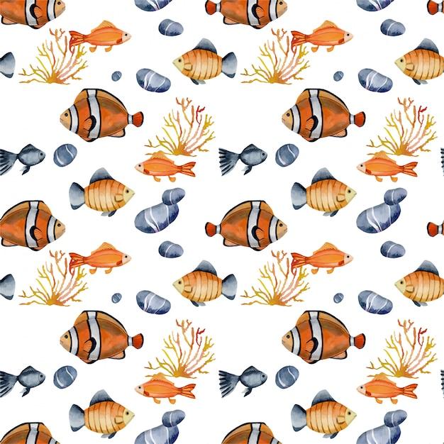 Naadloos patroon met de vissen van de waterverfclown Premium Vector