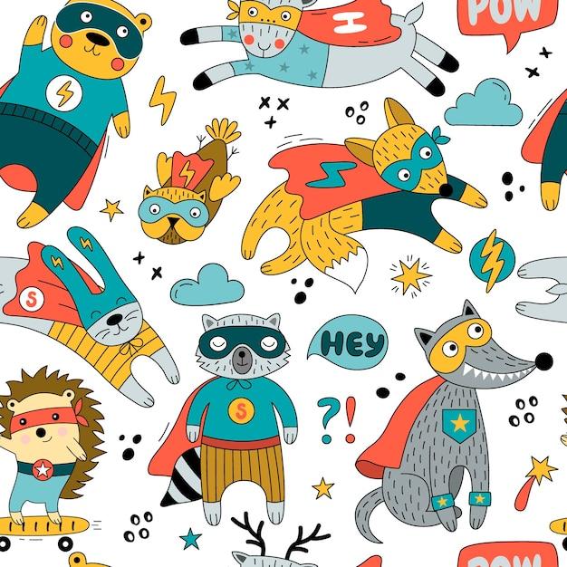 Naadloos patroon met dieren in de grappige illustratie van superheldenkostuums Premium Vector