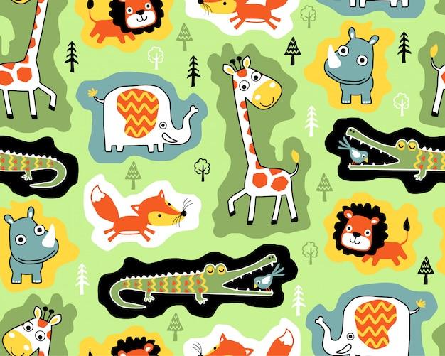 Naadloos patroon met dieren in het wild cartoon Premium Vector