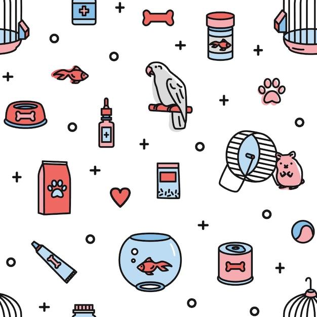 Naadloos patroon met dierenwinkelproducten en grappige huisdieren op wit Premium Vector