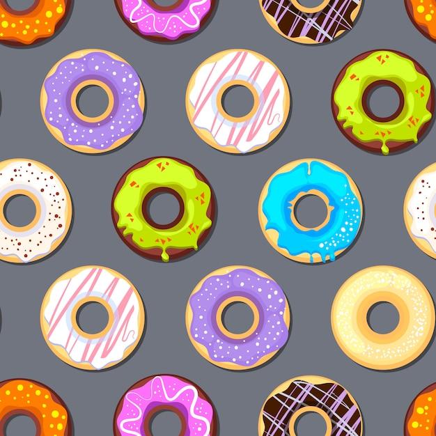 Naadloos patroon met donuts Premium Vector