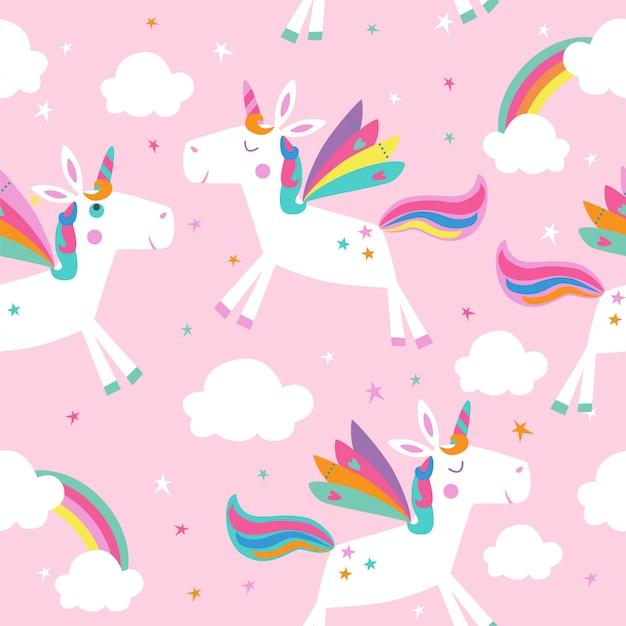 Naadloos patroon met eenhoorns, wolken en regenbogen. Premium Vector
