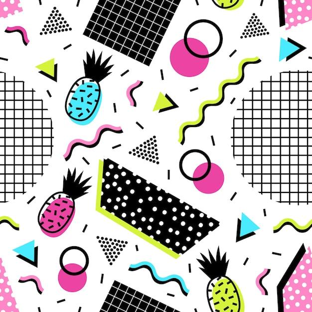 Naadloos patroon met exotische ananasvruchten, geometrische vormen en golvende lijnen van zure kleuren Premium Vector