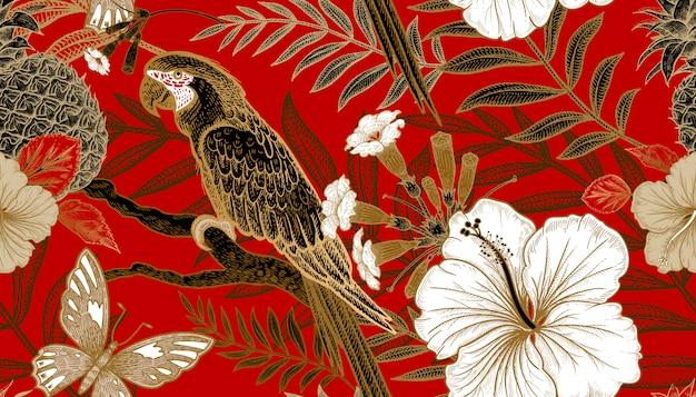 Naadloos patroon met exotische planten en papegaaien. Premium Vector