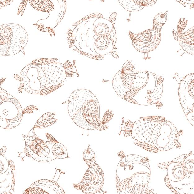 Naadloos patroon met fantastische vogels. Premium Vector