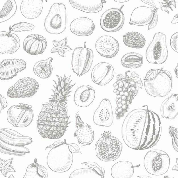 Naadloos patroon met fruit Premium Vector
