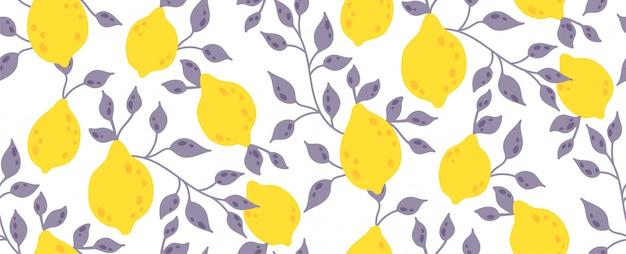 Naadloos patroon met geel citroenfruit en bladeren Premium Vector