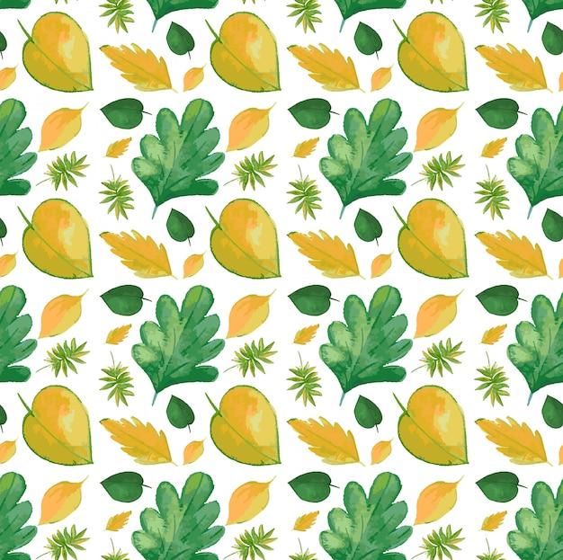 Naadloos patroon met gele bladeren Premium Vector
