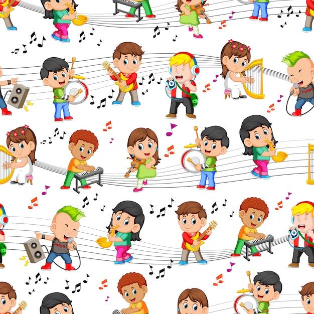 Naadloos patroon met gelukkige kinderen die muziek spelen Premium Vector