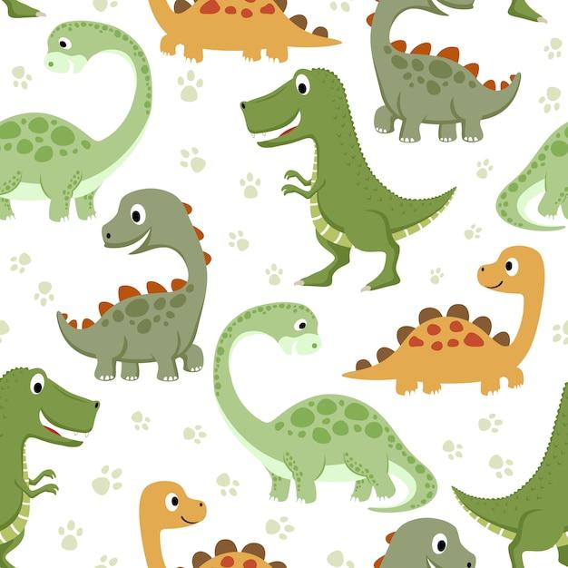 Naadloos patroon met grappige dinosaurussen Premium Vector