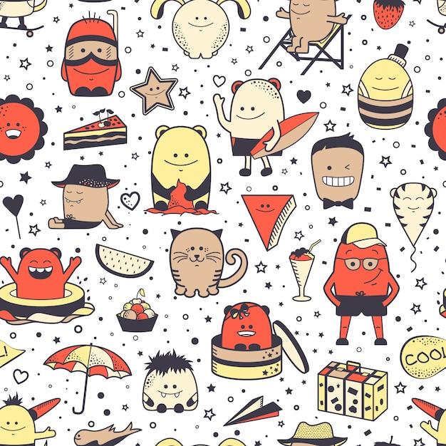 Naadloos patroon met grappige monsters. cartoon hand getekende tekens, ongewone wezens. Premium Vector