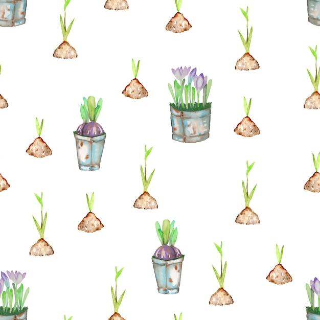 Naadloos patroon met groene de lentespruiten van de waterverflente uit de grond Premium Vector