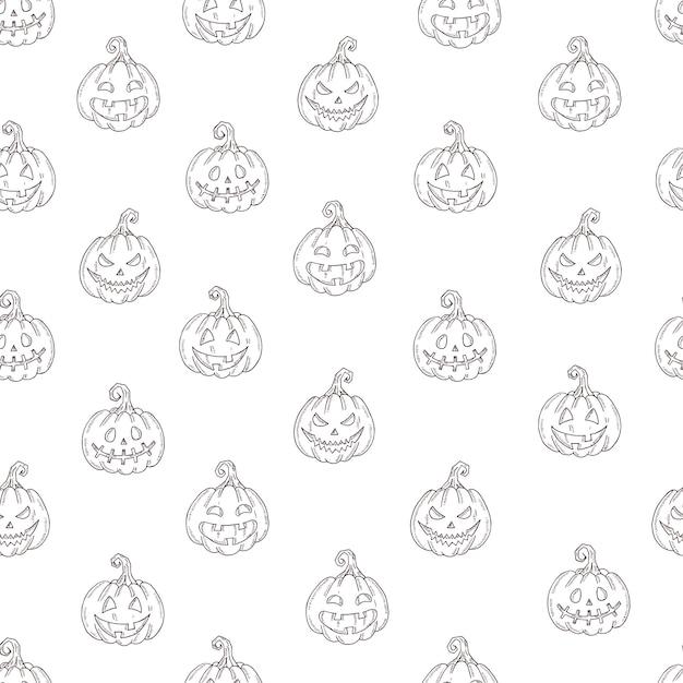 Naadloos patroon met halloween-pompoenhefboom in schetsstijl die op wit wordt geïsoleerd. Premium Vector
