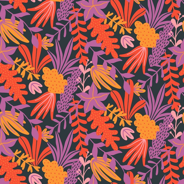 Naadloos patroon met hand getrokken bladeren en kruiden. Premium Vector