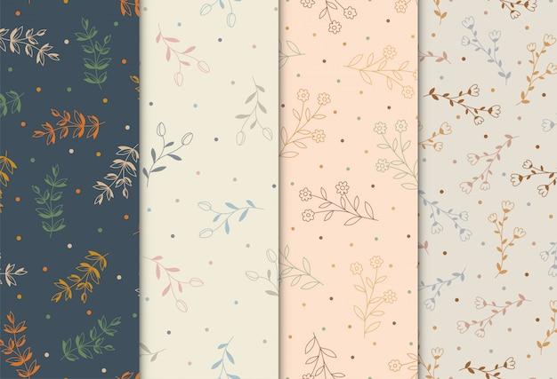 Naadloos patroon met hand getrokken bloemen, illustratie Premium Vector