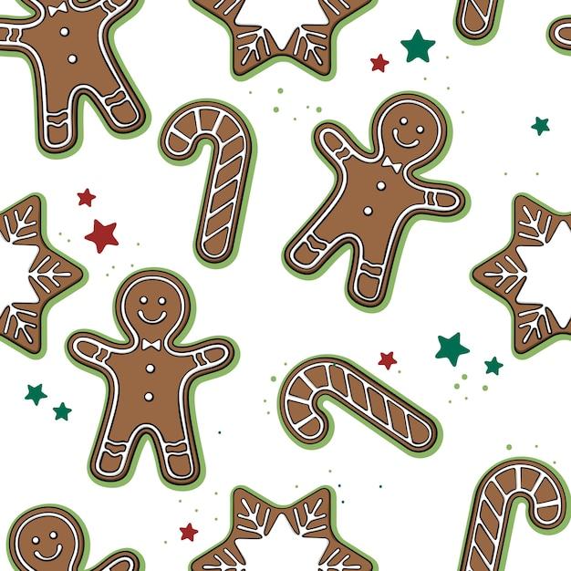Naadloos patroon met hand getrokken kerstmiskoekjes op wit. Premium Vector