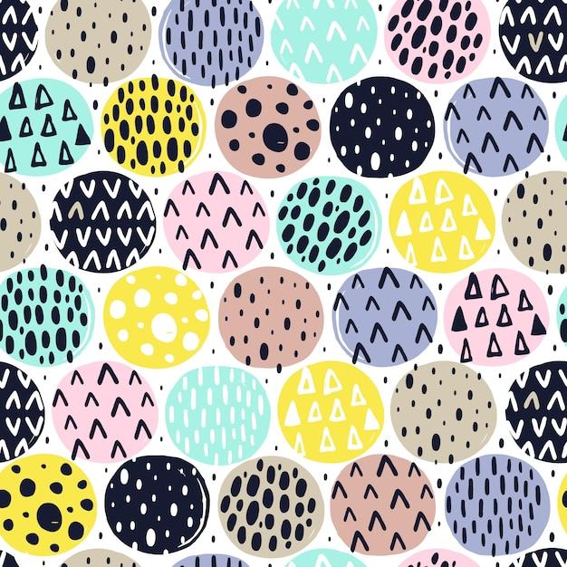 Naadloos patroon met hand getrokken texturen Premium Vector