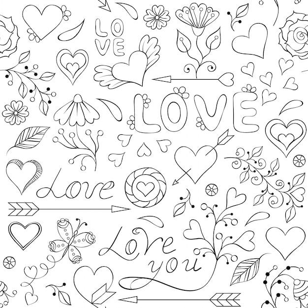 Naadloos patroon met harten, bloemen en andere elementen Premium Vector