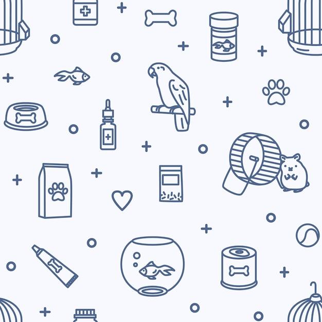 Naadloos patroon met huisdieren en dierenwinkelartikelen voor zorg, voeding, behandeling Premium Vector