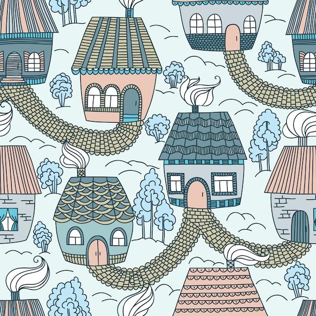 Naadloos patroon met huizen en bomen. Premium Vector