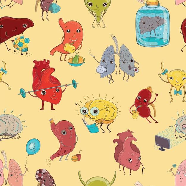 Naadloos patroon met illustratie van menselijke gezonde en zieke organen Premium Vector