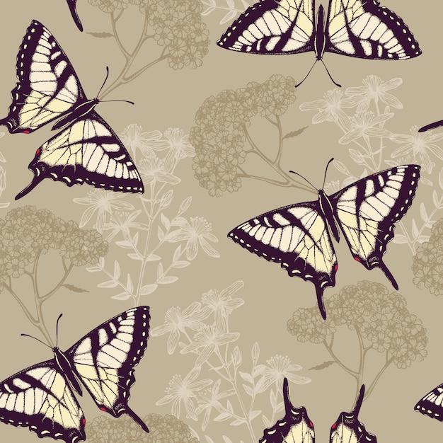 Naadloos patroon met inkt hand getekende vlinders, kruiden en bloemen op kleurrijke achtergrond Premium Vector
