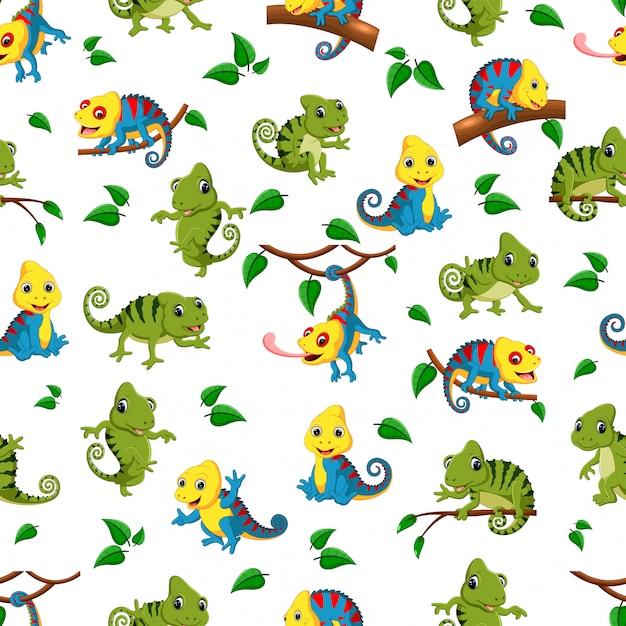 Naadloos patroon met inzameling van de kameleon Premium Vector