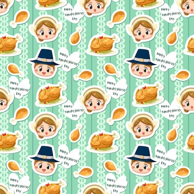 Naadloos patroon met jongen, meisje en gebraden kip. Gratis Vector