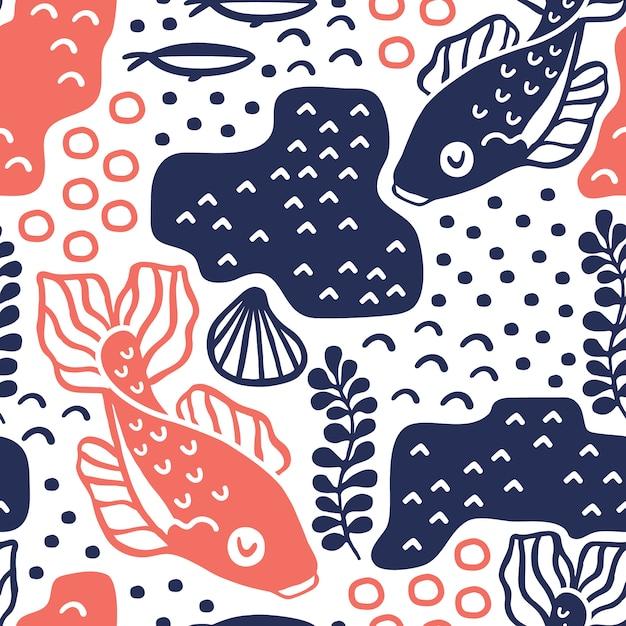 Naadloos patroon met karpervissen. Premium Vector