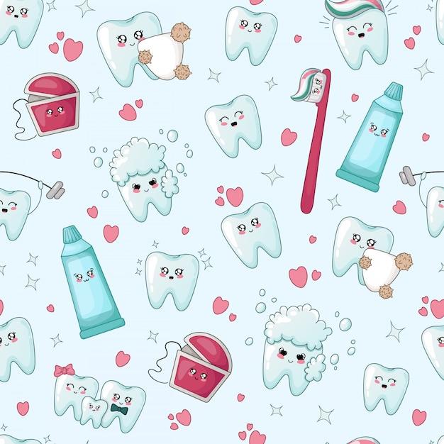 Naadloos patroon met kawaii tanden met verschillende emoji Premium Vector