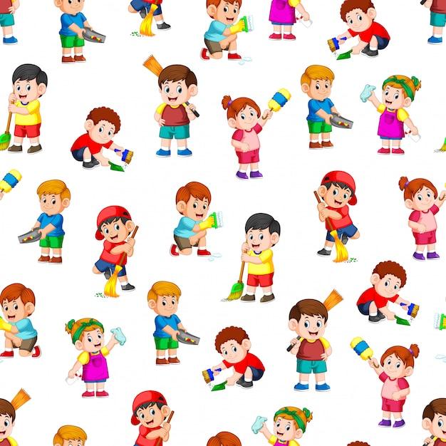 Naadloos patroon met kinderen die de schoonmakende hulpmiddelen houden Premium Vector