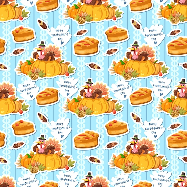 Naadloos patroon met kippenveren, pompoen en kalkoen die de pastei houden Gratis Vector