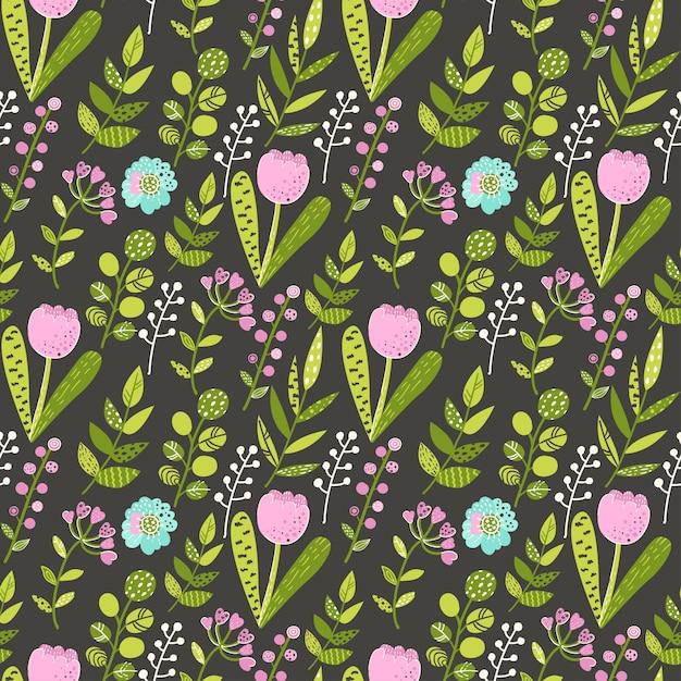 Naadloos patroon met kleurrijke bloemen en bladeren Premium Vector