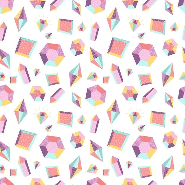 Naadloos patroon met kristallen Premium Vector