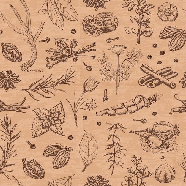 Naadloos patroon met kruiden en kruiden op een beige kleur Premium Vector