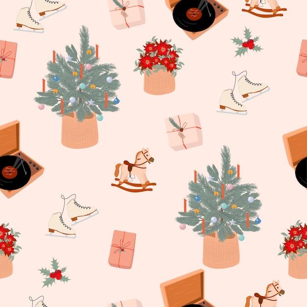 Naadloos patroon met leuke elementen van prettige kerstdagen of gelukkig nieuwjaar in scandinavische stijl bewerkbare illustratie Premium Vector