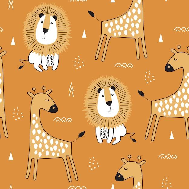 Naadloos patroon met leuke giraf en llion Premium Vector