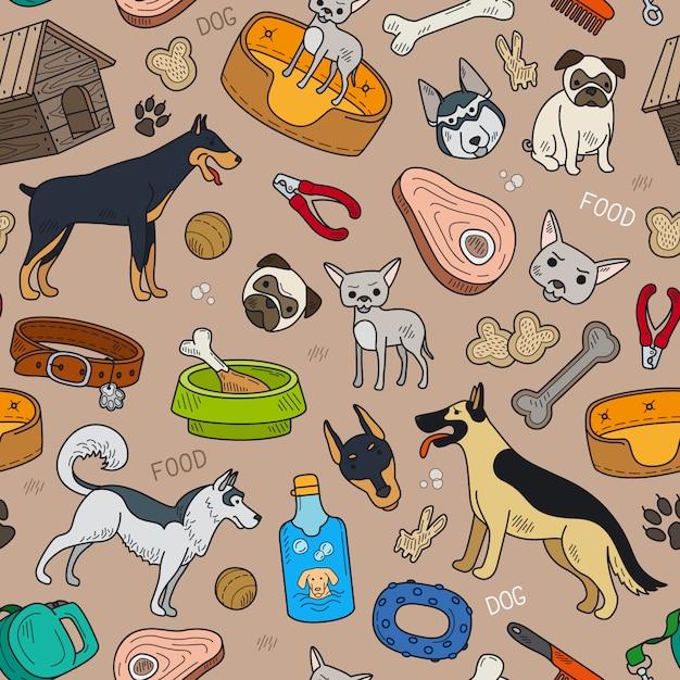 Naadloos patroon met leuke hond en huisdierentoebehoren Premium Vector