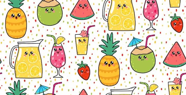 Naadloos patroon met leuke limonades, aardbeien, watermeloenen en cocktails in de kawaiistijl van japan. gelukkige beeldverhaalkarakters met grappige gezichtenillustratie. Premium Vector