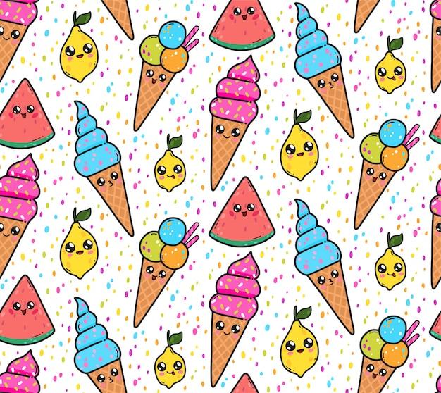 Naadloos patroon met leuke roomijs, citroenen en watermeloenen in kawaiistijl van japan. gelukkige beeldverhaalkarakters met grappige gezichtenillustratie. Premium Vector