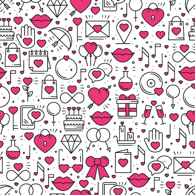 Naadloos patroon met liefdesymbolen. Premium Vector