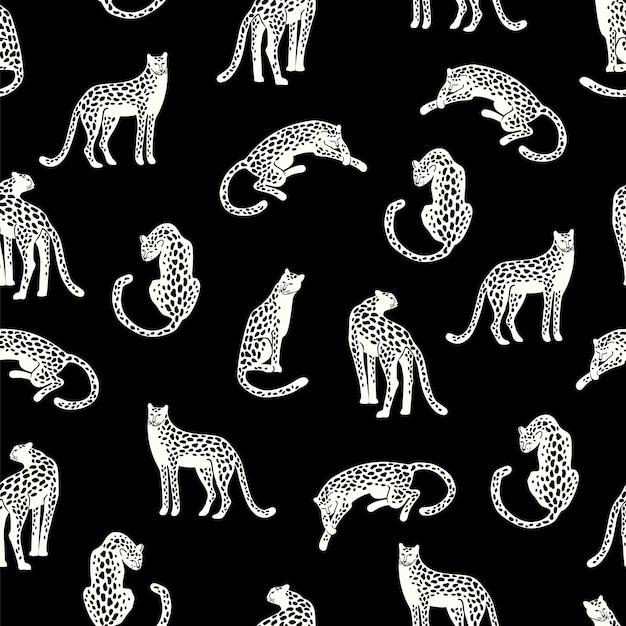 Naadloos patroon met luipaarden. Premium Vector