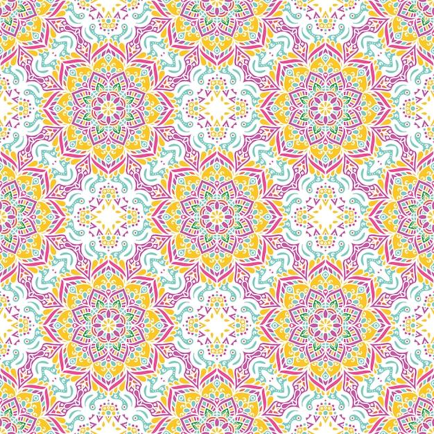 Naadloos patroon met mandalas Gratis Vector
