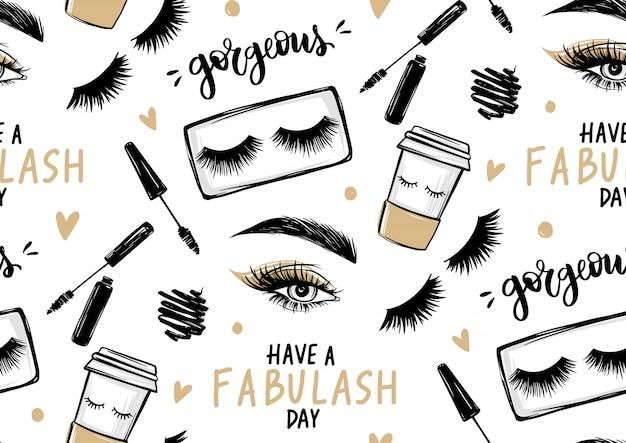 Naadloos patroon met mascara, oogschaduw, ogen, wenkbrauwen en lange zwarte wimpers, papieren koffiekopje en penseelstreek Premium Vector