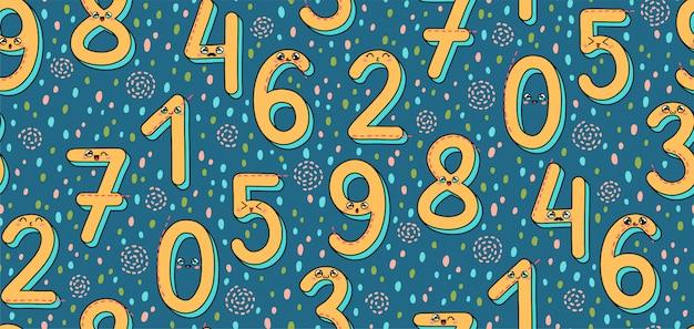 Naadloos patroon met nummer 1-9 in kawaii-stijl in japan Premium Vector
